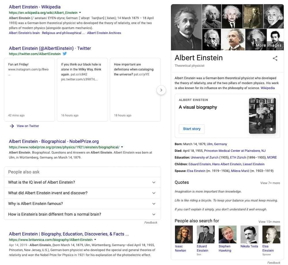 This Knowledge Graph Card gives you all the facts about Albert Einstein