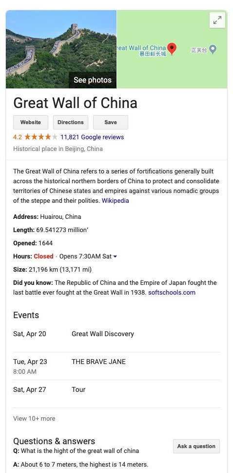 great wall of china card 59 - Google Knowledge Graph là gì?