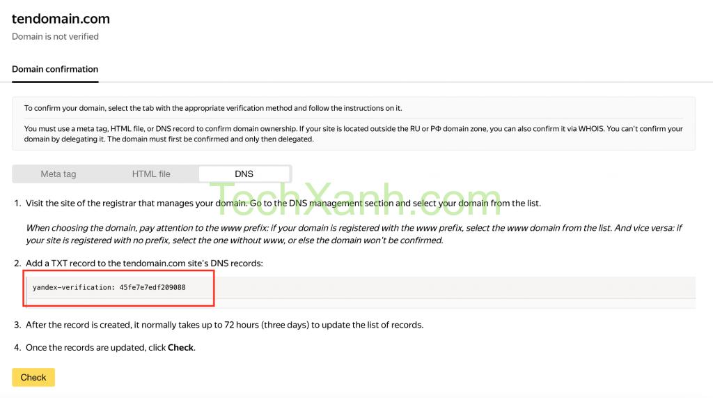 Verify Domain Voi Yandex Bang Ban Ghi Dns