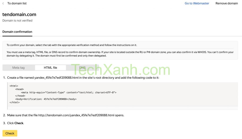 Verify Domain Yandex File2